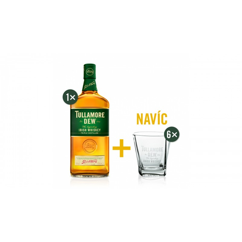 Tullamore D.E.W. 0,7l 40% se 6 skleničkami