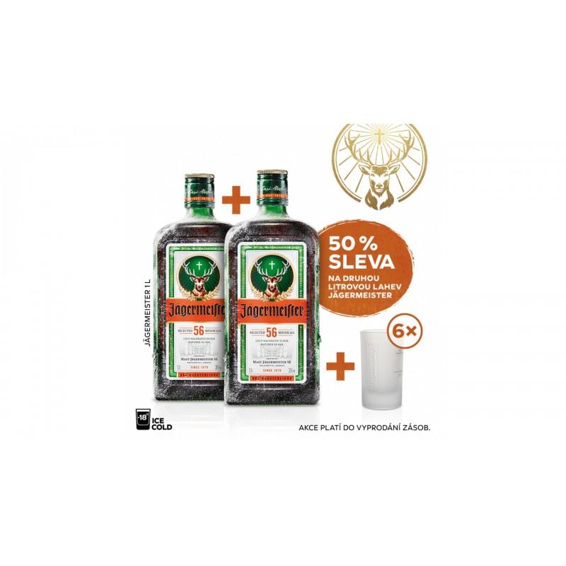 Jägermeister 1L 35% AKCE 1+1 s druhou lahví za polovinu + 6 panáků navíc