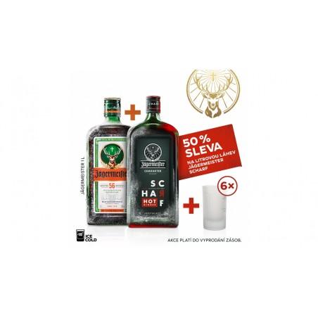 Jägermeister 1L 35%  AKCE 1+1 Jägermeister SCHARF 1L za polovinu + 6 panáků navíc
