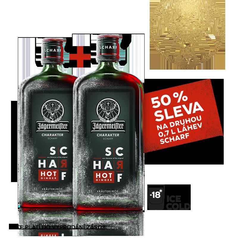 Jägermeister SCHARF 0,7l 33% AKCE 1+1 s druhou lahví za polovinu