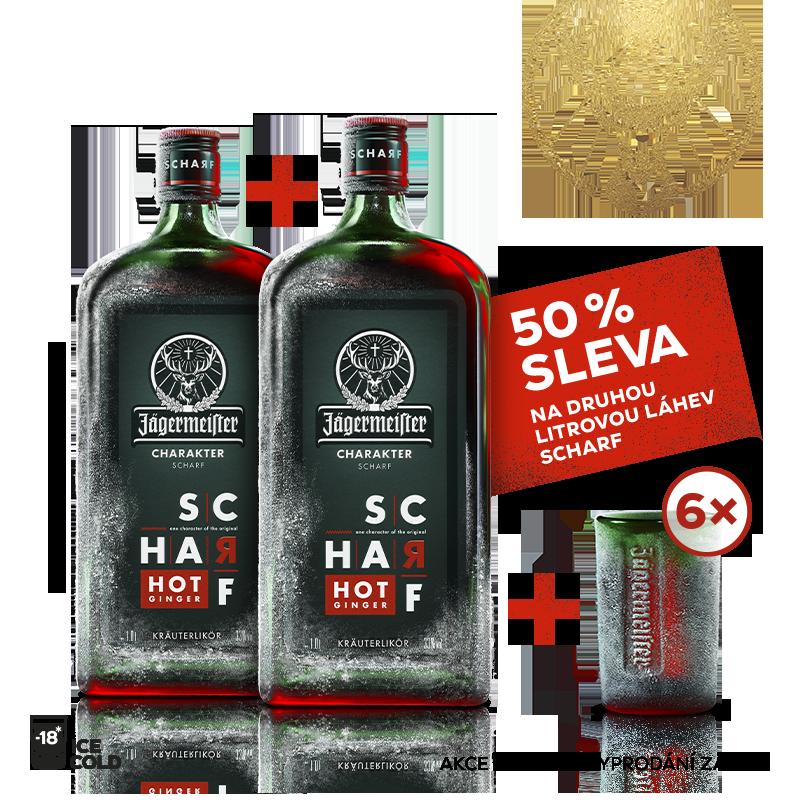 Jägermeister SCHARF 1l 33% AKCE 1+1 s druhou lahví za polovinu + 6 panáků navíc