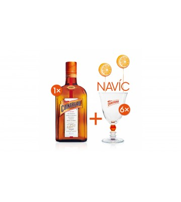 Cointreau 0,7l pomerančový likér 40% se šesti skleničkami navíc