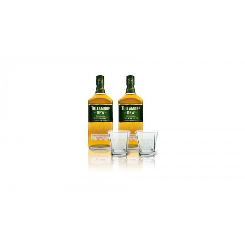 Akční set 2x Tullamore DEW 0,7l 40% + 2 značkové skleničky TD